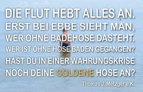 EBBE-UND-FLUT-Goldene Badehose (Handy)